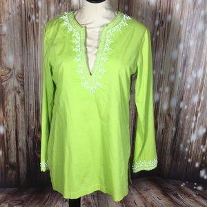 Michael Kors Embellished Lime Green Tunic Top M